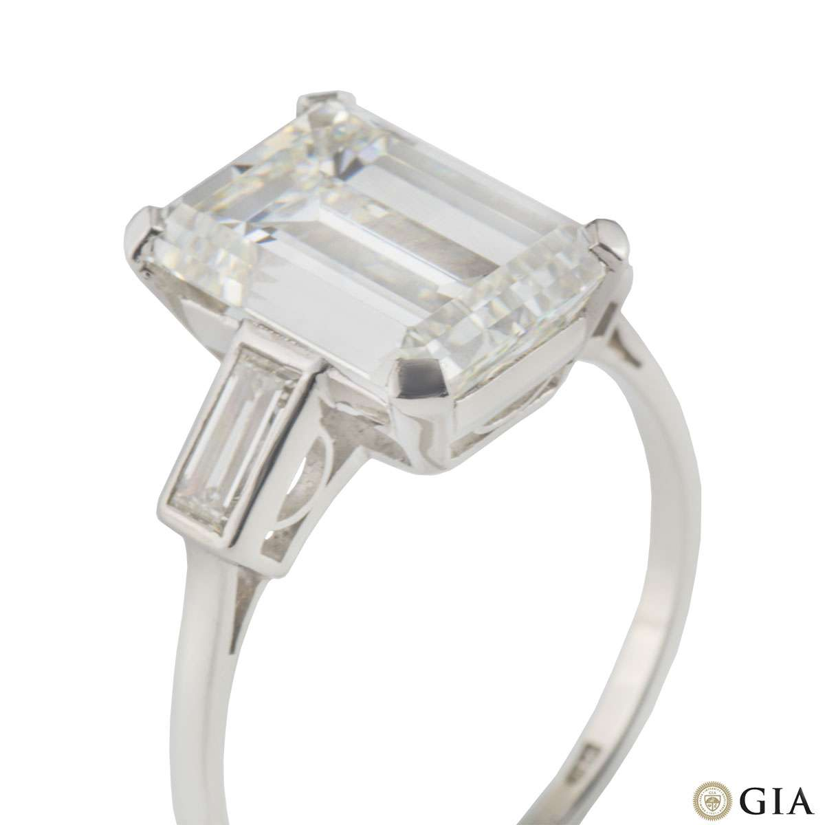 Emerald Cut Platinum Diamond Ring 7.02ct H/VS1